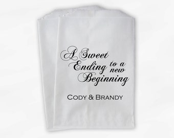 Wedding Favor Bags for Candy Buffet in Black - A Sweet Ending to a New Beginning Customized Favor Bags for Wedding - Paper Treat Bags (0053)