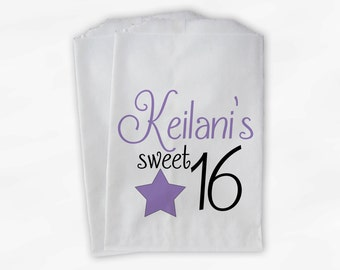 Sweet 16 Birthday Personalized Candy Buffet Bags - Lavender Star Custom Favor Bags - 25 Paper Treat Bags (0081)