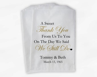 Sweet Thank You Anniversary Candy Buffet Treat Bags - Gold and Black Personalized Favor Bags - We Still Do Set of 25 Bags (0166)