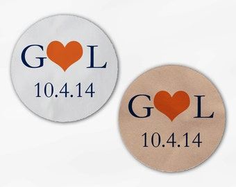 Initials & Heart Wedding Favor Stickers - Orange and Navy Custom White Or Kraft Round Labels for Bag Seals, Envelopes, Mason Jars (2004)