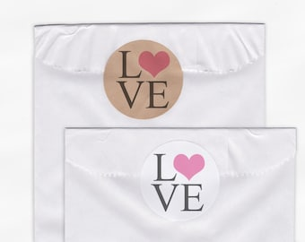 Love Heart Wedding Favor Stickers - Custom White Or Kraft Round Labels for Bag Seals, Envelopes, Mason Jars (2001)