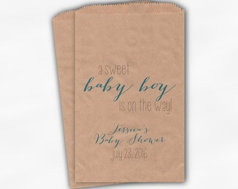Sweet Baby Boy On The Way Baby Shower Candy Buffet Treat Bags - Set of 25 Turquoise Personalized Kraft Paper Favor Bags (0181)