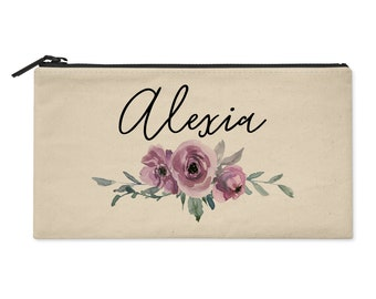 Personalized Cosmetic Bag with Watercolor Flowers in Purple - Use as Makeup Pouch, Pencil Bag, Clutch