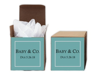 Baby Shower Favor Boxes in Light Teal Blue - Baby & Co. Set of 12 Personalized Treat Containers with Stickers - Kraft Boxes
