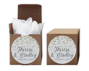 Glitter Confetti Wedding Favor Boxes - Set of 12 Personalized Treat Containers with Round Stickers for Party Favors - Kraft Brown Boxes