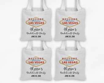 Las Vegas Mini Tote Bachelorette Party Favor Bags - Set of 4 Custom Gift Bags - Reusable Tote Bags with Vegas Sign