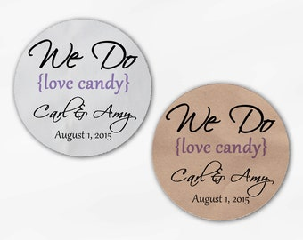 We Do Love Candy Personalized Wedding Favor Stickers - Lavender Custom White Or Kraft Round Labels for Candy Buffet Bags Envelope (2019)