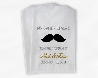 Mustache Candy Buffet Favor Bags - Black and Gold Candy Stash Custom Personalized Treat Bags for Wedding - Paper Bags (0059)