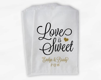 Love Is Sweet Script Wedding Candy Buffet Treat Bags - Personalized Favor Bags in Black and Gold - Custom Paper Bags (0168)