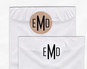Monogram Wedding Favor Stickers - Custom Bride and Groom Initials White Or Kraft Round Labels for Bag Seals, Envelopes, Mason Jars (2007)