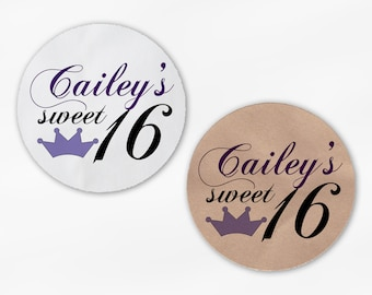 Sweet 16 Birthday Party Favor Stickers - Purple with Crown Custom White Or Kraft Round Labels for Bag Seals, Envelopes, Mason Jars (2035)