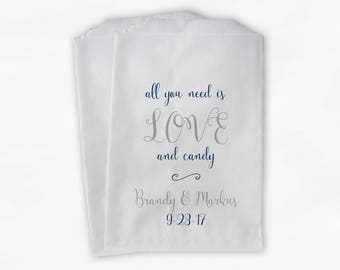 Love and Candy Wedding Candy Buffet Treat Bags - Personalized Calligraphy Favor Bags in Navy Blue and Silver - Custom Paper Bags (0197)