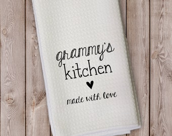 Grandma's Kitchen Personalized Kitchen Towel - Gift for Grandparent, Housewarming - Made With Love Microfiber Towel with Heart