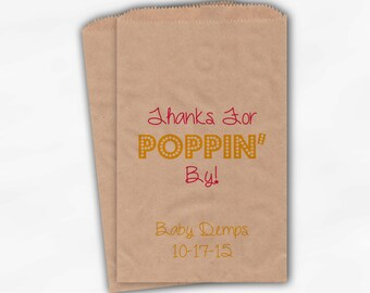 Thanks For Poppin By Popcorn Bags - Hot Pink and Yellow Custom Candy Buffet Favor Bags for Baby Shower - 25 Kraft Paper Treat Bags (0113)