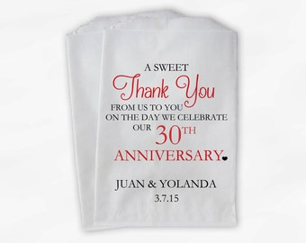 Anniversary Candy Buffet Treat Bags - A Sweet Thank You Black and Red Personalized Favor Bags with Couple's Names and Date (0085)