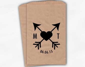Crossed Arrows and Heart Kraft Paper Candy Buffet Bags - Personalized Initials and Wedding Date Custom Favor Bags - Paper Treat Bags (0116)