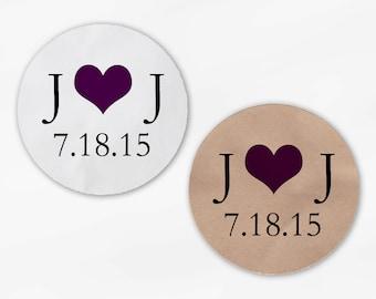 Initials & Heart Wedding Favor Stickers - Dark Purple Custom White Or Kraft Round Labels for Bag Seals, Envelopes, Mason Jars (2004)