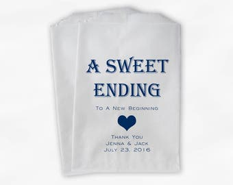 Sweet Ending New Beginning Wedding Candy Buffet Treat Bags - Personalized Favor Bags in Navy Blue - Custom Paper Bags (0150)