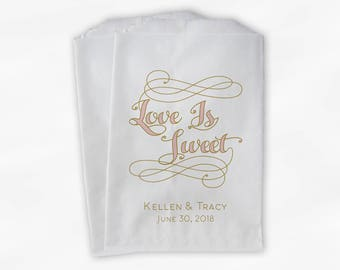 Love is Sweet Favor Bags in Pink and Gold - Personalized Calligraphy Favor Bags - Set of 25 Paper Treat Bags (0211)