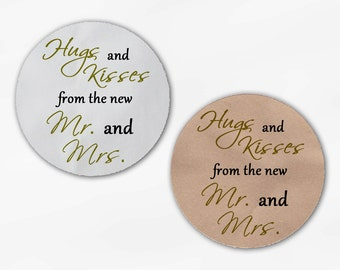 Hugs and Kisses From the New Mr. and Mrs. Wedding Favor Stickers - Olive Green and Black Custom Round Labels (2015)