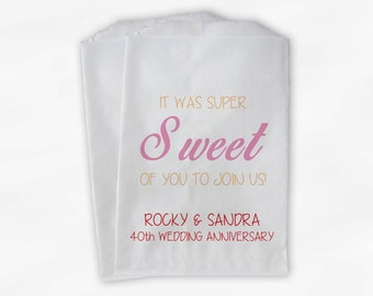 Super Sweet of You to Join Us Anniversary Candy Buffet Treat Bags - Set of 25 Pink Peach Red Favor Bags with Names and Date (0058)