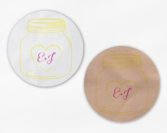 Mason Jar Initials in Heart Wedding Favor Stickers in Yellow & Hot Pink - White Or Kraft Round Labels for Envelopes, Canning Jars (2027)