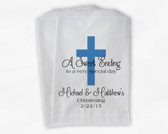 First Communion Favor Bags - Baptism or Religious Party Custom Favor Bags - Set of 25 Medium Blue and Black Paper Treat Bags (0073)