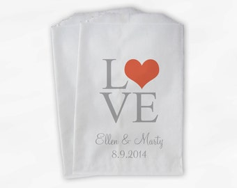 Love Candy Buffet Bags - Square Love Typography Personalized Wedding Favor Bags in Charcoal and Coral - Paper Treat Bags (0114)