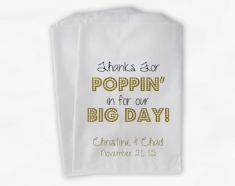 Thanks For Poppin In Popcorn Bags - Black and Gold Custom Candy Buffet Favor Bags for Wedding, Birthday, Shower - Paper Treat Bags (0113)