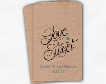 Love Is Sweet Calligraphy Bridal Shower Candy Buffet Treat Bags - Personalized Favor Bags in Aqua - Set of 25 Custom Kraft Paper Bags (0122)