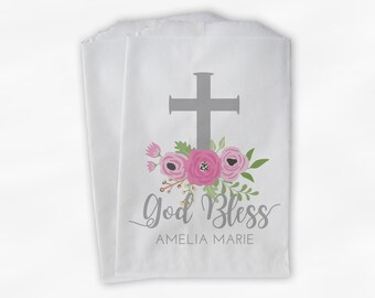 God Bless Flower Favor Bags - First Communion, Baptism or Religious Party Custom Favor Bags - Set of 25 Pink and Gray Paper Treat Bags
