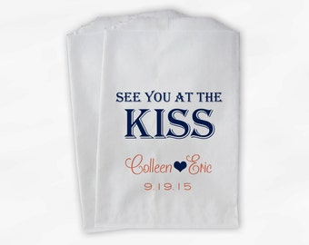 See You at the Kiss Wedding Candy Buffet Treat Bags - Navy Blue and Coral - Custom Personalized Paper Bags (0095)