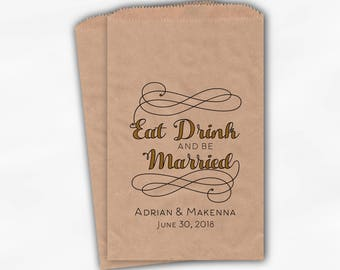 Eat Drink and Be Married Favor Bags in Black and Gold - Personalized Calligraphy Favor Bags - Set of 25 Kraft Paper Treat Bags (0210)