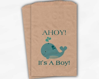 Whale Baby Shower Favor Bags - Ahoy It's A Boy Custom Treat Bags for Baby Shower - 25 Kraft Paper Bags (0027)