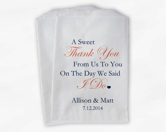 Sweet Thank You Wedding Candy Buffet Treat Bags - Navy and Coral Personalized Favor Bags with Couple's Names and Wedding Date (0054)