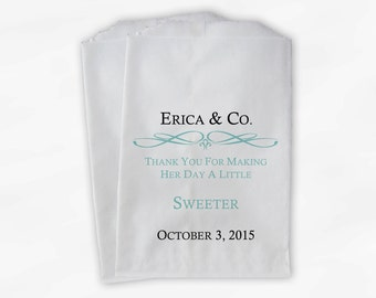 Custom Bridal Shower Candy Buffet Paper Treat Bags Personalized - Light Teal Favor Bags with Name and Wedding Date - Set of 25 Bags (0044)
