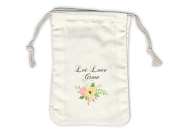 Let Love Grow Vintage Floral Cotton Bags for Seed Packet Wedding Favors - Ivory Fabric Drawstring Bags - Set of 12 (1040)
