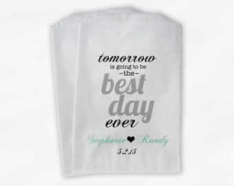 Best Day Ever Wedding Candy Buffet Treat Bags - Mint & Gray Personalized Rehearsal Favor Bags with Names and Date - Custom Paper Bags (0102)