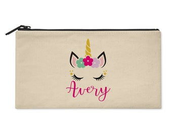 Unicorn Personalized Zipper Pouch with Flowers - Use as Pencil Bag, Makeup Pouch, Clutch