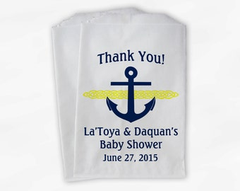 Nautical Anchor Baby Shower Favor Bags - Personalized Navy Blue and Yellow Custom Treat Bags for Candy Buffet - 25 Paper Bags (0047)