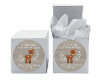A Little Deer Baby Shower Favor Boxes in Light Ivory - Set of 12 Personalized Treat Containers with Circle Stickers - White Boxes
