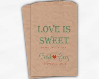 Love Is Sweet Wedding Candy Buffet Treat Bags - Take a Treat Personalized Favor Bags in Coral and Mint - Custom Kraft Paper Bags (0078)