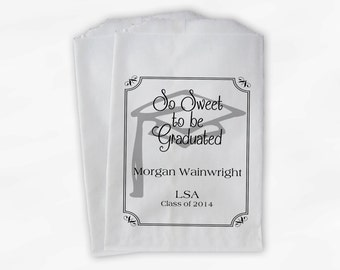 Graduation Favor Bags - 2018 Sweet to be Graduated Party Custom Favor Bags - Set of 25 Black and White Paper Treat Bags (0076)