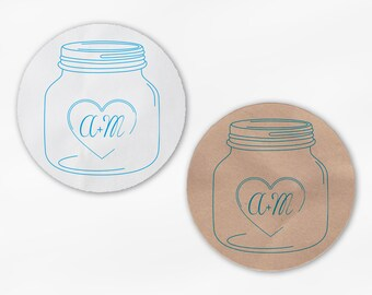 Mason Jar Initials in Heart Wedding Favor Stickers in Turquoise - White Or Kraft Round Labels for Bag Seals, Envelopes, Canning Jars (2027)