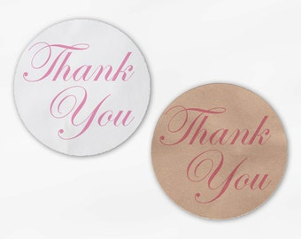 Thank You in Pink Wedding Favor Stickers - Custom White Or Kraft Round Labels for Bag Seals, Envelopes, Mason Jars (2002)