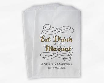 Eat Drink and Be Married Favor Bags in Black and Gold - Personalized Calligraphy Favor Bags - Set of 25 Paper Treat Bags (0210)
