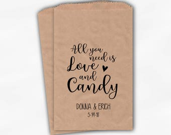 All You Need Is Love and Candy Wedding Candy Buffet Treat Bags - Personalized Kraft Paper Favor Bags in Black - Set of 25 Bags (0208)