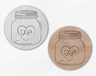 Mason Jar Initials in Heart Wedding Favor Stickers - Custom White Or Kraft Round Labels for Bag Seals, Envelopes, Canning Jars (2027)