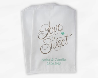 Love Is Sweet Calligraphy Wedding Candy Buffet Treat Bags - Personalized Favor Bags in Mint Green and Beige - Custom Paper Bags (0122)