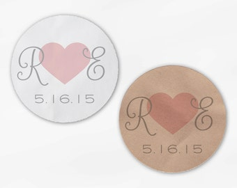 Initials and Heart Wedding Favor Stickers - Pink and Gray Custom Candy Buffet White, Kraft Round Labels for Bag Seals, Envelopes (2021)